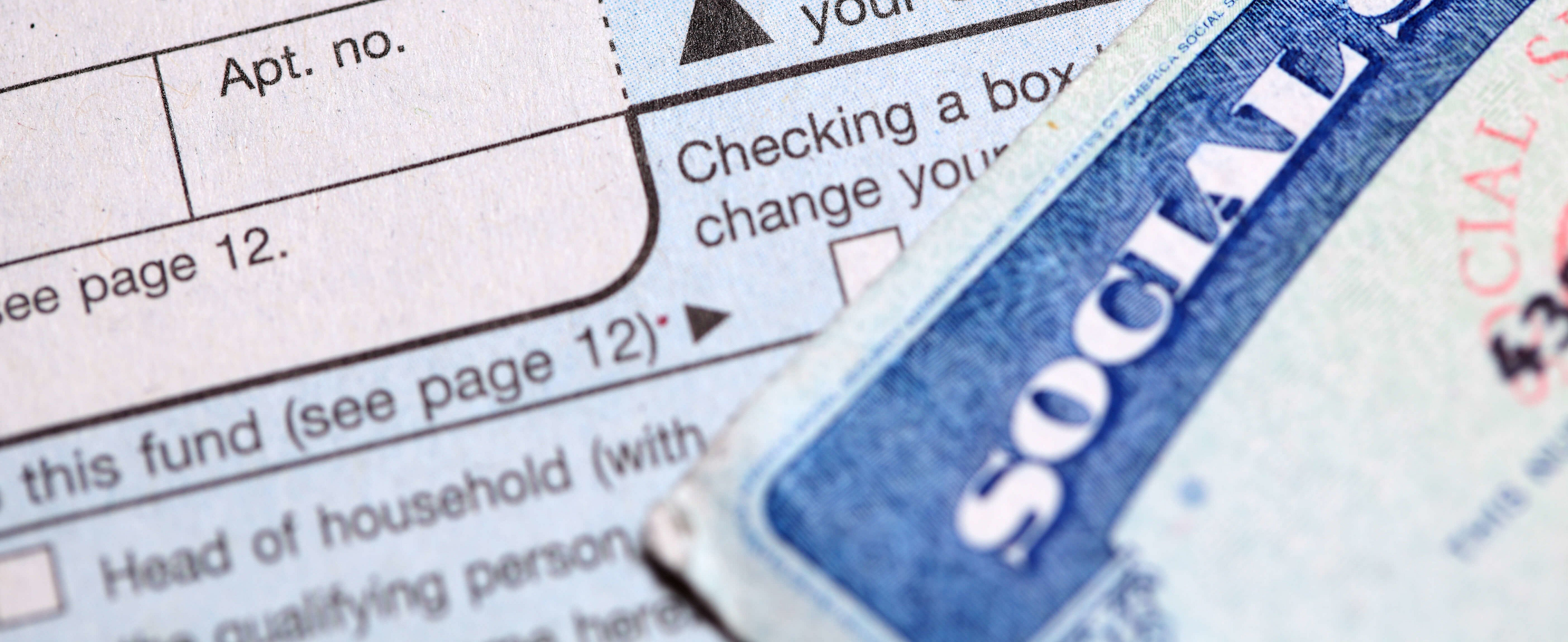 shotof social security card and tax form