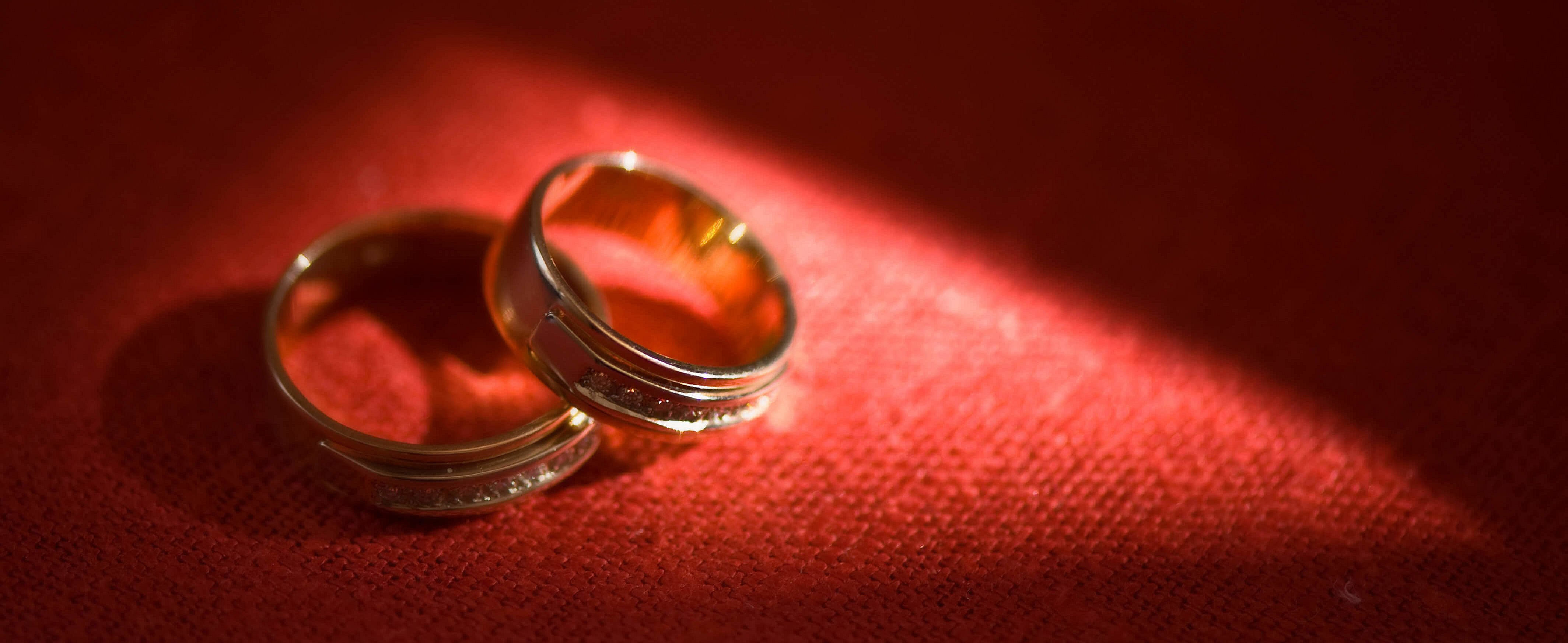 close-up wedding rings